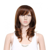 Damara Womens Mid Full Curly Bangs Verisimilar Wig,Brown