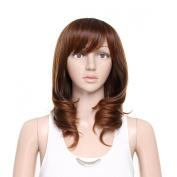 Damara Womens Mid Full Curly Bangs Verisimilar Wig,Brown