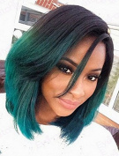 Sunwell Fashion Ombre Short Bob Synthetic Lace Front Wigs Natural Straight Heat Resistant For Black Women
