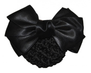 Women Bun Cover Net Snood Bowknot Decor Barrette Hair Clip