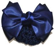 Women Bun Cover Net Snood Bowknot Decor Barrette Hair Clip