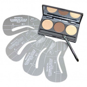 FiveBull 3 Colour Pro Eyebrow Powder Wax Makeup Palette Cosmetic Shading Kit with Brush Mirror 4Pcs Eye Brow Stencils Set