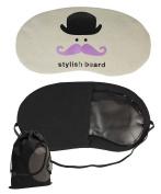 Black / Purple Moustache Design Soft Eye Mask for Sleeping, Travel with Elastic Band and Bonus Drawstring String Bag