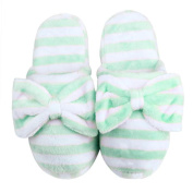 Sunward Fashion Women Indoor Slippers, Lovely Stripe Bowknot Super Soft & Lightweight Warm Home Floor Slippers Shoes (M