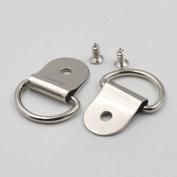 "30 Sets 35mm 1 3/8"" Frame D Ring Picture Hanger Screws Small Strap Nickle"