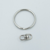 """100 Pcs 1"""" 25mm Key Chains with Swivel Connectors Key Ring keyring for buckle Snap Nickle"""