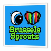 3dRose Bright Eye Heart I Love Brussels Sprouts - Iron on Heat Transfer, 25cm by 25cm , for White Material