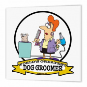 3dRose Funny Worlds Greatest Dog Groomer Women Cartoon - Iron on Heat Transfer, 25cm by 25cm , for White Material