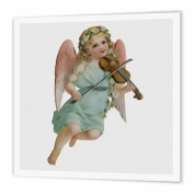 3dRose Vintage Victorian Angel Cherub Playing violin - Iron on Heat Transfer, 20cm by 20cm , for White Material