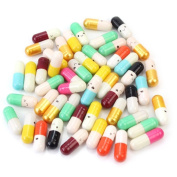 Memay Message in a Bottle Message Cute Love Half Colour Pill Capsule Letter, 50Pcs
