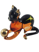 TINY CRYSTAL CAT HAND BLOWN CLEAR GLASS ART CAT FIGURINE ANIMALS COLLECTION GLASS BLOWN FBM