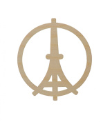 Peace For Paris Eiffel Tower Ornament Unfinished Wood Shapes 8.9cm Inch PAR-3.5