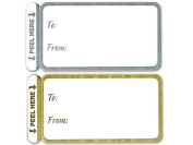 100 Trendy Gold & Silver Peel N Stick Wedding Birthday Party 2-1/2 X 1-1/4 Gift Tags Stickers