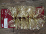 Gold Wired Lace Ribbon Small 15cm Bows with 4 Loops and 4 Tails
