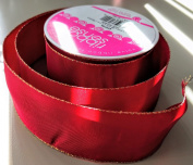 RibbonSense Red with Gold Trim Pattern 3.8cm . x 3 yards 100% Polyester Ribbon - Great for Any Occasion!