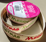 RibbonSense Merry Christmas Pattern 1.6cm . x 3 yards 100% Polyester Ribbon - Great for Any Occasion!