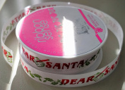 RibbonSense Dear Santa Pattern 1.6cm . x 3 yards 100% Polyester Ribbon - Great for Any Occasion!