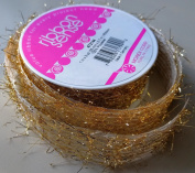 RibbonSense Gold Frills Pattern 2.5cm . x 3 yards 100% Polyester Ribbon - Great for Any Occasion!