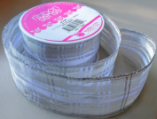 RibbonSense Silver Checker Pattern 3.8cm . x 3 yards 100% Polyester Ribbon - Great for Any Occasion!