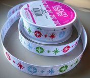 RibbonSense Winter Stars Pattern 1.6cm . x 3 yards 100% Polyester Ribbon - Great for Any Occasion!