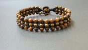 Handmade Bracelet Triple Layer Tiger Eye Bracelet