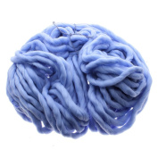 MMRM Super Chunky Yarn Soft Wool Roving Bulky Yarn Spinning Hand Knitting - 260G - Blue