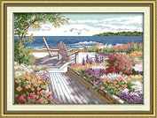 """Ningmi DIY 3D 11CT Seaside Landscapes Pattern Stitching Precise Printed Counted Cross Stitch Set Embroidery Kits Home Decoration 57cmX42cm or 22.8""""X16.8"""""""