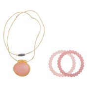 Infantino Teething gems pendant and bracelet set, Pink