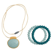 Infantino Teething gems pendant and bracelet set, Teal