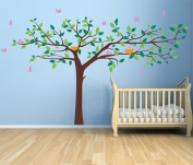 Pop Decors Removable Vinyl Art Wall Decals Mural for Nursery Room, Colourful Super Big Tree