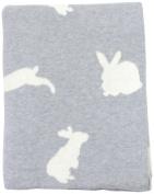 DARZZI Bunny Baby Blanket, Grey/Natural