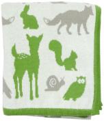 DARZZI Woodland Animal Baby Blanket, Moss Green Combo