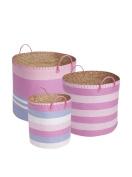 JoJo Maman Bebe Pastel Pink Stripe Basket Set