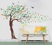 Pop Decors PT-0018VB Beautiful Wall Decals, Tree and Birds, 200cm