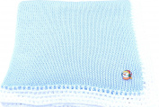 Knitted Crochet Finished Blue Cotton White Trim Baby Blanket with Snowman