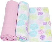MiracleWare 3141 Colourful Bursts Muslin Swaddle, 2 Pack