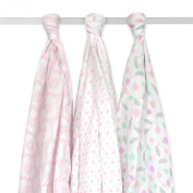 Just Born 3-Pack Muslin Blankets, Cherries and Hearts, Pink/Grey/White