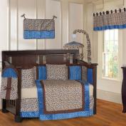 Blue Leopard 10 Piece Baby Crib Bedding Set
