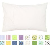 100% Cotton TODDLER PILLOWCASE - Hypoallergenic - 200 Thread Count - Percale - Envelope Style - Super Soft - Fits 12x16, 13x18, 13x19 Pillows - MADE IN THE USA (White