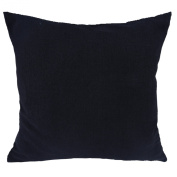 Deconovo Faux Linen Woven Fine Home Decorative Hand Made Pillow Case Cushion Cover With Invisible Zipper For Chair, 46cm x 46cm , Black