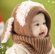 Puppy Scarf Winter New Baby Hat Wool Hat Winter Hat Beanie Hat Hooded Scarf Earflap Knit Cap Toddler Cute Khaki Colour