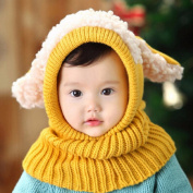 Puppy Scarf Winter New Baby Hat Wool Hat Winter Hat Beanie Hat Hooded Scarf Earflap Knit Cap Toddler Cute Yellow Colour