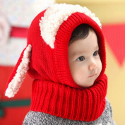 Puppy Scarf Winter New Baby Hat Wool Hat Winter Hat Beanie Hat Hooded Scarf Earflap Knit Cap Toddler Cute Red Colour