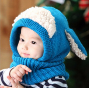 Puppy Scarf Winter New Baby Hat Wool Hat Winter Hat Beanie Hat Hooded Scarf Earflap Knit Cap Toddler Cute Blue Colour