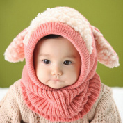 Puppy Scarf Winter New Baby Hat Wool Hat Winter Hat Beanie Hat Hooded Scarf Earflap Knit Cap Toddler Cute Pink Colour