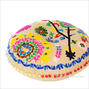 EYES OF INDIA - 60cm BROWN BEIGE ROUND DECORATIVE FLOOR CUSHION PILLOW pouffe COVER Bohemian Boho Decor