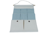 Hilivre Polka Dot Cotton Linen 8 Pocket Hanging Organiser Blue