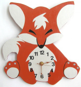 Nursery Wall Clock, Nursery Fox Clock, Hanging Fox Clock, Children's Room Wall Clock, Fox Wall Clock, Kid's Room Foxl Clock