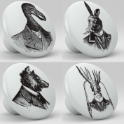 Steampunk Animal Portraits Ceramic Knobs Set of 4