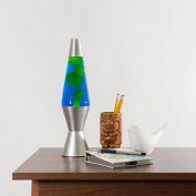 Silver Lava Lamp with Blue Liquid Yellow wax New